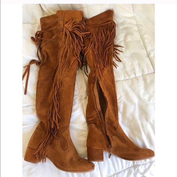 93311f4a12d Camel fringe over the knee Zara boots